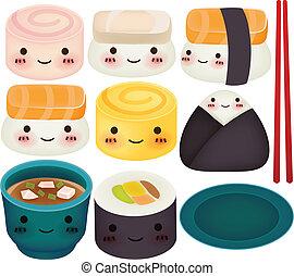 eps10, sushi, -, collezione, vettore, file