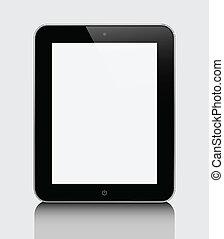 eps10, tavoletta, realistico, schermo, isolato, grigio, calcolatore pc, fondo., vuoto