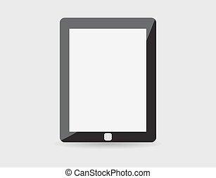 eps10, tavoletta, realistico, schermo, isolato, pc, vettore, fondo., vuoto, bianco, computer