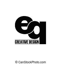 eq, semplice, logotipo, vettore, lettera