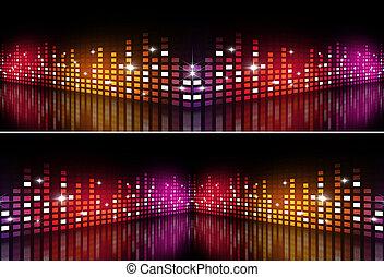 equalizzatore, multicolor, musica, bandiere