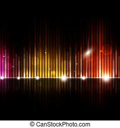 equalizzatore, musica, fondo, sfocato