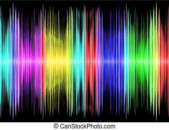 equalizzatore, nero, variopinto, suono, display.