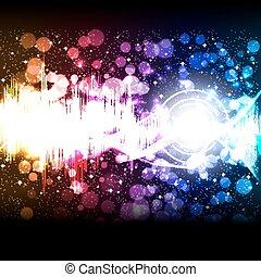 equalizzatore, vettore, musica, onda