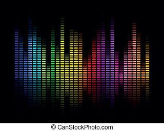 equalizzatore, vettore, musica