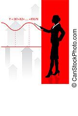 equazione, donna, finanziario, fondo, affari