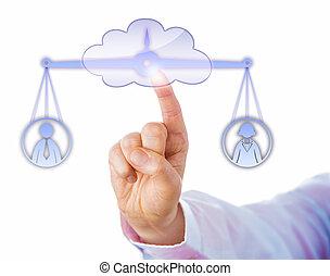 equilibratura, maschio, lavoratore, nuvola, femmina