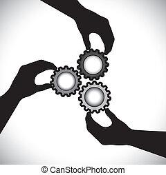 equilibrio, loro, concetto, dente, &, graphic-, integrity., sincronizzazione, comunità, 3, rotante, lavoro squadra, unità, vettore, illustrazione, presa a terra, silhouette, ruote, mano, mostra