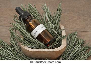 erba, contagocce, olio, bottiglia, aromatherapy, trattamento, essenziale, terme, rosmarino