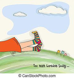 erba, divertente, piedi, verde