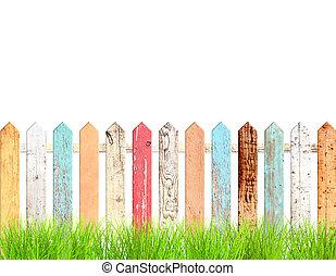 erba, recinto, rustico, verde, legno