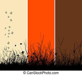 erba, silhouette, fondo