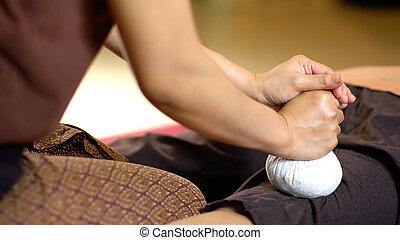 erbaceo, tailandese, palla, massaggio