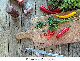 erbe, verdura, fresco, cucina, scrivania