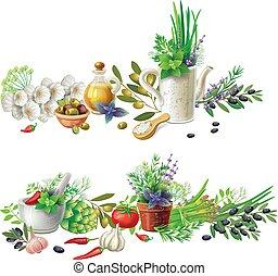 erbe, verdura, otri, bandiere, aromatico