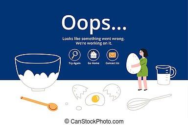 errore, pagina, fondo, cucina