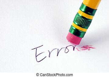 error/mistake, concetto, parola, gomma, cancellare, eliminare, errore
