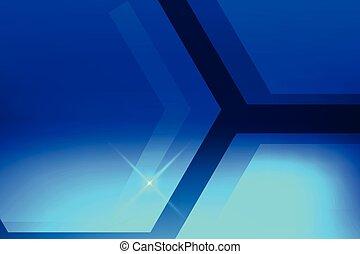 esagono, astratto, blu, vettore, fondo