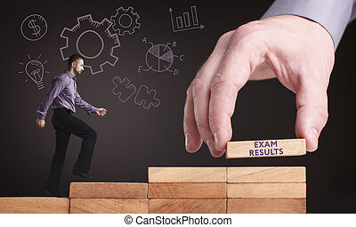 esame, concept., giovane, risultati, rete, internet, uomo affari, tecnologia, affari, mostra, word: