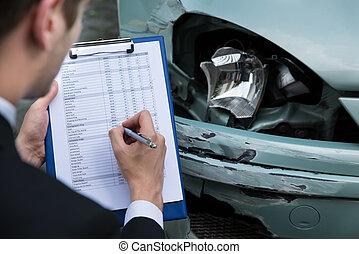 esaminare, incidente, automobile, secondo, agente, assicurazione