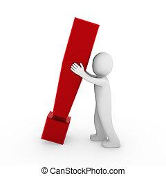 esclamazione, 3d, umano, rosso, marchio