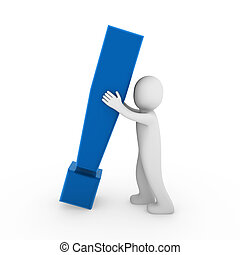 esclamazione, blu, 3d, umano, marchio