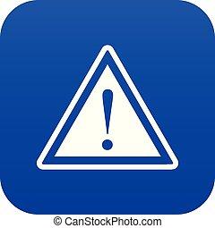 esclamazione, blu, attenzione, marchio, avvertimento, digitale, segno, icona