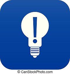 esclamazione, blu, dentro, marchio, digitale, bulbo, icona