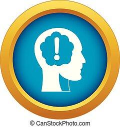 esclamazione, blu, testa, dentro, isolato, marchio, vettore, icona