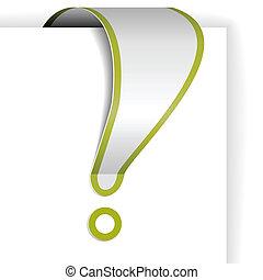 esclamazione, bordo, bianco, verde, marchio