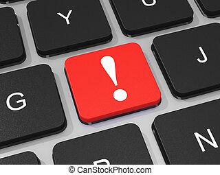 esclamazione, computer., laptop, marchio, chiave, tastiera, rosso