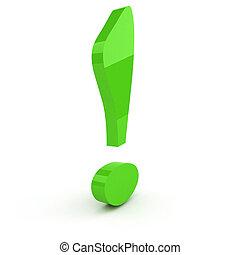 esclamazione, concetto, sopra, backgound, marchio, direzione, verde bianco