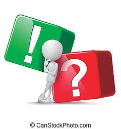 esclamazione, cubi, pensare, grande, punto interrogativo, fronte, tipo, 3d