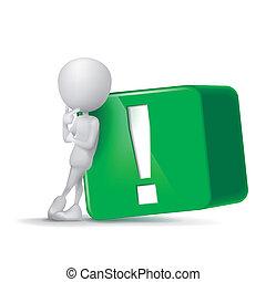 esclamazione, cubo, marchio, verde, umano, 3d