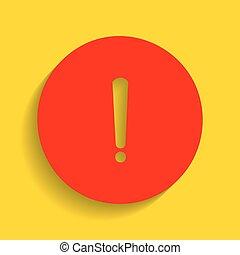 esclamazione, dorato, segno., marchio, fondo., vector., uggia, morbido, rosso, icona