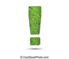 esclamazione, fatto, erba verde, marchio