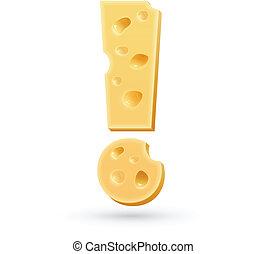 esclamazione, formaggio, mark., isolato, white., simbolo