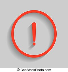 esclamazione, grigio, segno., marchio, fondo., vector., uggia, morbido, rosso, icona