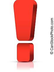 esclamazione, isolato, marchio, bianco, rosso