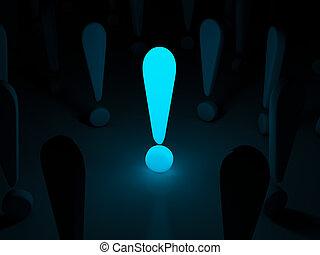 esclamazione, luce, simbolo, fondo, marchio