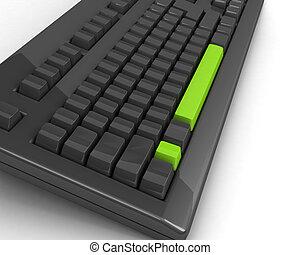 esclamazione, luminoso, tastiera, verde, marchio