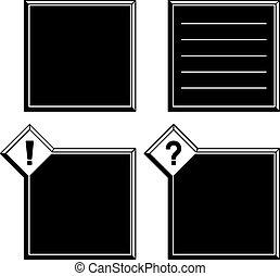 esclamazione, punto interrogativo, vettore, nero, cornici, bianco, 3d