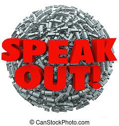 esclamazione, punto palla, marchio, spalmare, opinione, messaggio, fuori, parlare