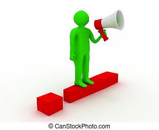 esclamazione, reso, persone, illustrazione, marchio, megaphone., rosso, 3d
