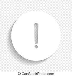 esclamazione, segno., marchio, fondo., vector., bianco, morbido, uggia, trasparente, icona