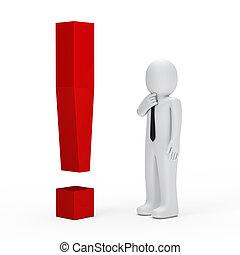 esclamazione, uomo affari, rosso, marchio