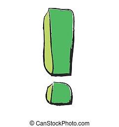 esclamazione, verde, cartone animato, marchio