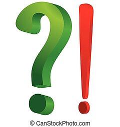 esclamazione, verde, domanda, rosso, marchio
