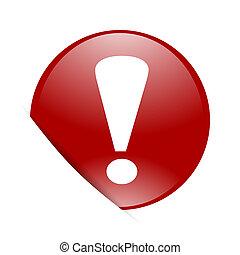 esclamazione, web, segno, lucido, cerchio, rosso, icona