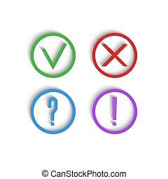 esclamazione, zecca, exam., interrogazione, disambiguation, domanda, icons., segno spunta, croce, verde, collezione, contrassegni, checkmark, mark., prova, rosso, 3d